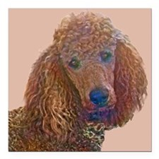 "RED POODLE LOVE Square Car Magnet 3"" x 3"""