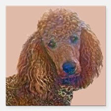 """RED POODLE LOVE Square Car Magnet 3"""" x 3"""""""
