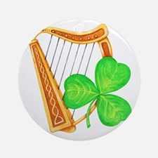 Harp and Clover Ornament (Round)