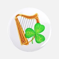 """Harp And Clover 3.5"""" Button"""