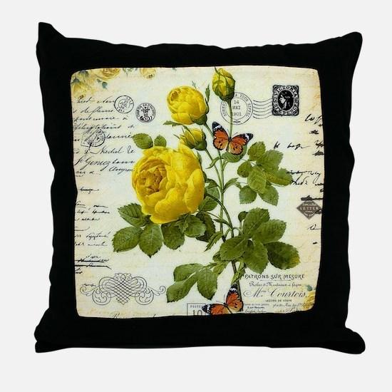 Cute Yellow rose Throw Pillow