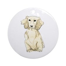 Longhaired English Cream Miniatur Ornament (Round)