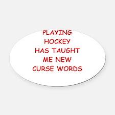 i love hockey Oval Car Magnet
