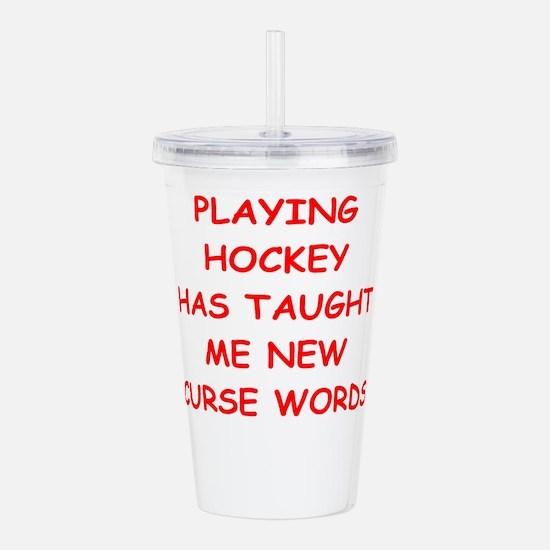 i love hockey Acrylic Double-wall Tumbler