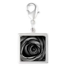 Black Rose Silver Square Charm