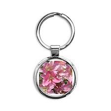 Beautiful Pink Lilies Round Keychain