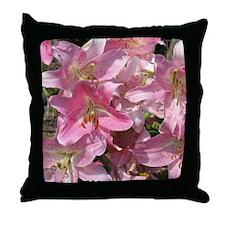Beautiful Pink Lilies Throw Pillow