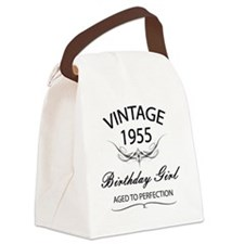 Vintage 1955 Birthday Girl Aged T Canvas Lunch Bag