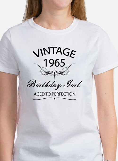 Vintage 1965 Birthday Girl Aged To Tee