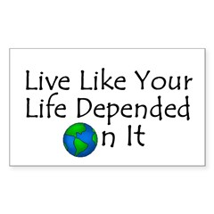 Live Like Your Life Depended Sticker (Rectangular