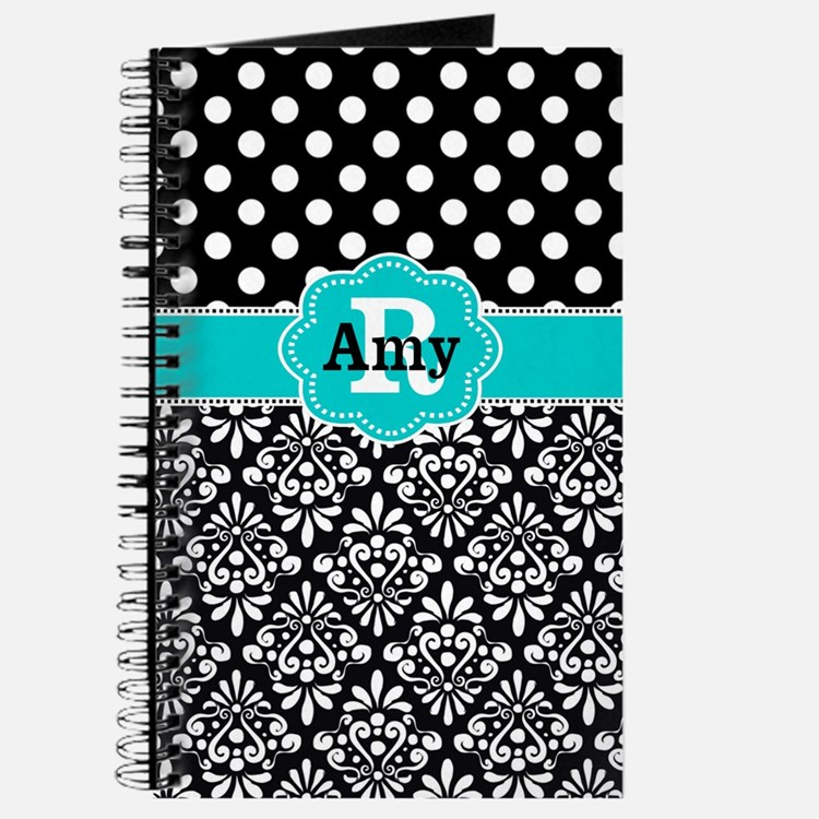 Teal Black Dots Damask Personalized Journal