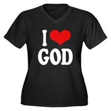 I Love God Women's Plus Size V-Neck Dark T-Shirt