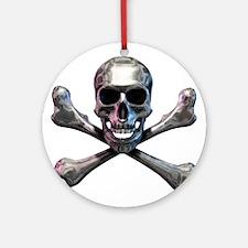 Chrome Skull and CrossBones Ornament (Round)