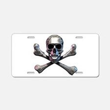 Chrome Skull and CrossBones Aluminum License Plate