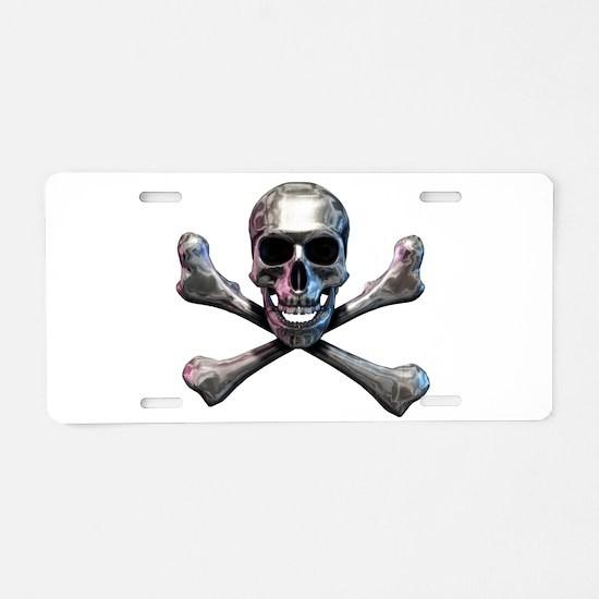 Chrome Skull and CrossBones Aluminum License Plate