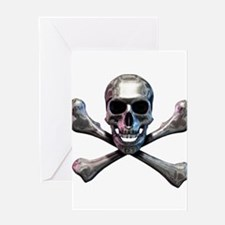 Chrome Skull and CrossBones Greeting Card