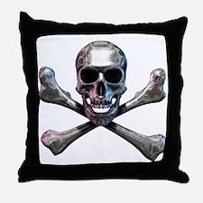 Chrome Skull and CrossBones Throw Pillow
