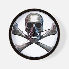 Chrome Skull and CrossBones Wall Clock