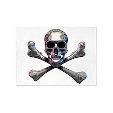 Chrome Skull and CrossBones 5'x7'Area Rug