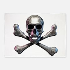 Chrome Skull and CrossBones 5'x7'Area Rug