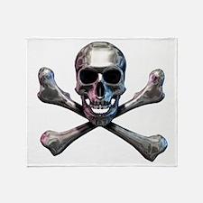 Chrome Skull and CrossBones Throw Blanket