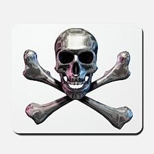 Chrome Skull and CrossBones Mousepad