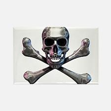 Chrome Skull and CrossBones Rectangle Magnet