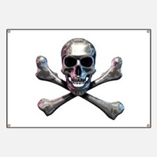 Chrome Skull and CrossBones Banner