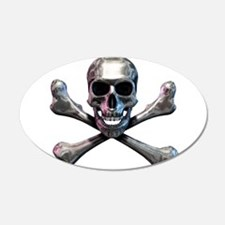 Chrome Skull and CrossBones Wall Decal