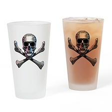 Chrome Skull and CrossBones Drinking Glass