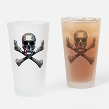 Chrome Skull and CrossBones Drinking Glass