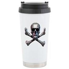 Chrome Skull and CrossB Travel Mug