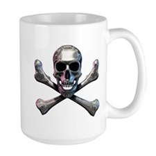 Chrome Skull and CrossBones Mug