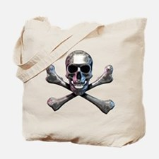 Chrome Skull and CrossBones Tote Bag