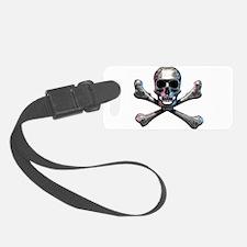 Chrome Skull and CrossBones Luggage Tag