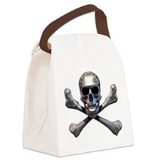 Chrome Skull and CrossBones Canvas Lunch Bag
