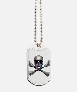 Chrome Skull and CrossBones Dog Tags