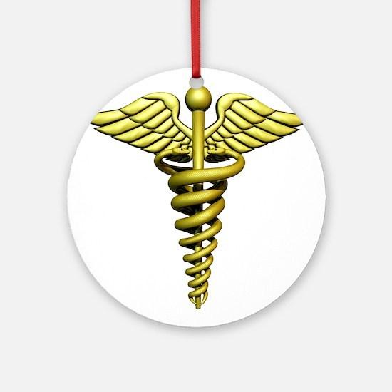 Golden Medical Symbol Ornament (Round)