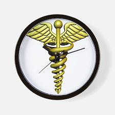 Golden Medical Symbol Wall Clock