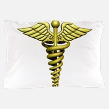 Golden Medical Symbol Pillow Case
