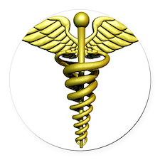 Golden Medical Symbol Round Car Magnet