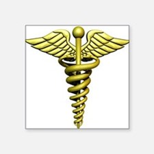 "Golden Medical Symbol Square Sticker 3"" x 3"""