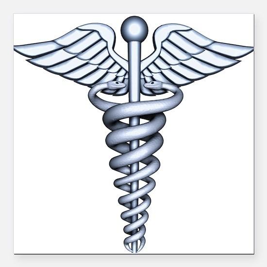 "Medical Symbol Square Car Magnet 3"" x 3"""