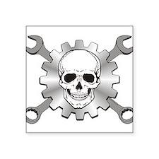 """Gear Motor Skull Square Sticker 3"""" x 3"""""""