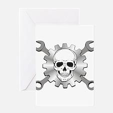Gear Motor Skull Greeting Card