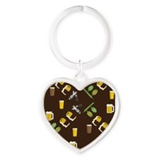 Beer Collage Heart Keychain