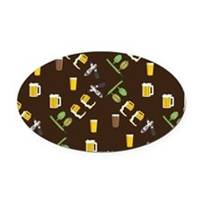 Beer Collage Oval Car Magnet
