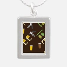 Beer Collage Silver Portrait Necklace