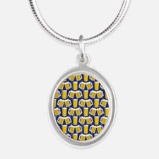 Beer Cheers Silver Oval Necklace