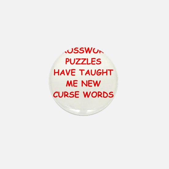 i love crossword puzles Mini Button